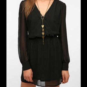 UO Coincidence & Choice Long Sleeve Black Dress S